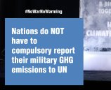 Nations do NOT have to compulsory report their military GHG emissions to UN