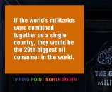 If the world's militaries were combined together as a single country, they would be the 29th biggest oil consumer in the world.