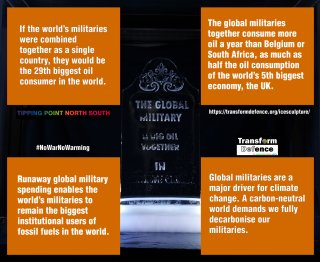 If the world's militaries were combined together as a single country, they would be the 29th biggest oil consumer in the world. Runaway global military spending enables the world's militaries to remain the biggest institutional users of fossil fuels in the world. Global militaries are a major driver for climate change. A carbon-neutral world demands we fully decarbonise our militaries.