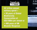 $2 trillion annual military spend = • 20 years of Global Biodiversity Conservation at US$100bn per annum or • 400 years of UN Disaster Response