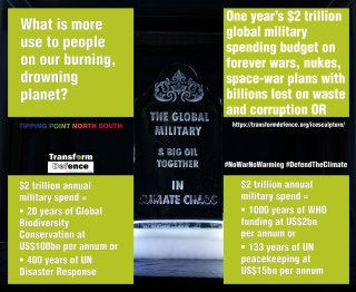 $2 trillion annual military spend = • 20 years of Global Biodiversity Conservation at US$100bn per annum or • 400 years of UN Disaster Response or • 1000 years of WHO funding at US$2bn per annum or • 133 years of UN peacekeeping at US$15bn per annum