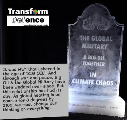 It was WW1 that ushered in the age of 'BIG OIL.' And through war and peace, Big Oil & the Global Military have been wedded ever since. But this relationship has had its day. As global heating is on course for 3 degrees by 2100, We must change our thinking on everything.